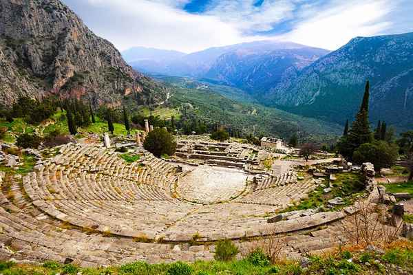 | greece delphi ancient theatre and mountains