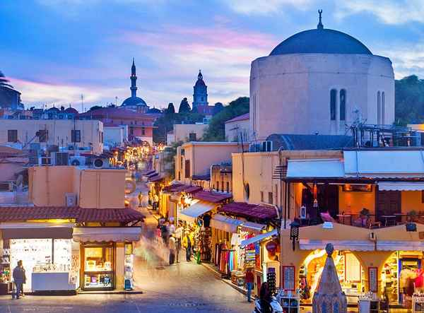 | greece rhodes town hippocrates square evening